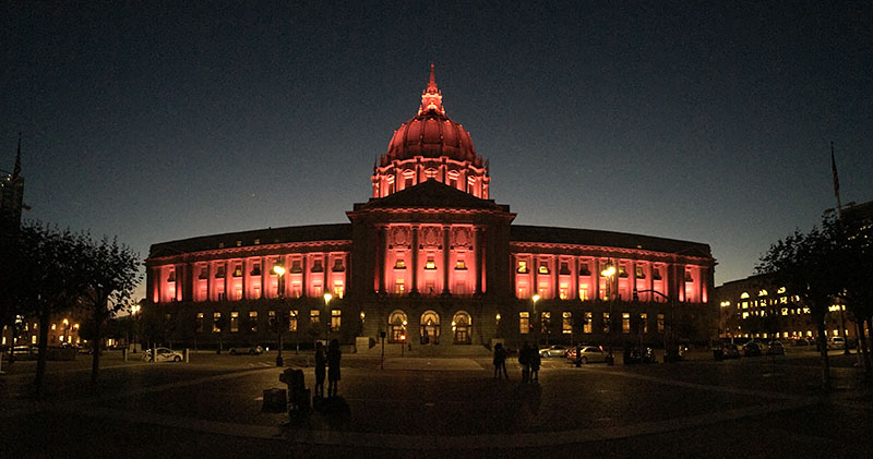 San Francisco City Hall lights up pink