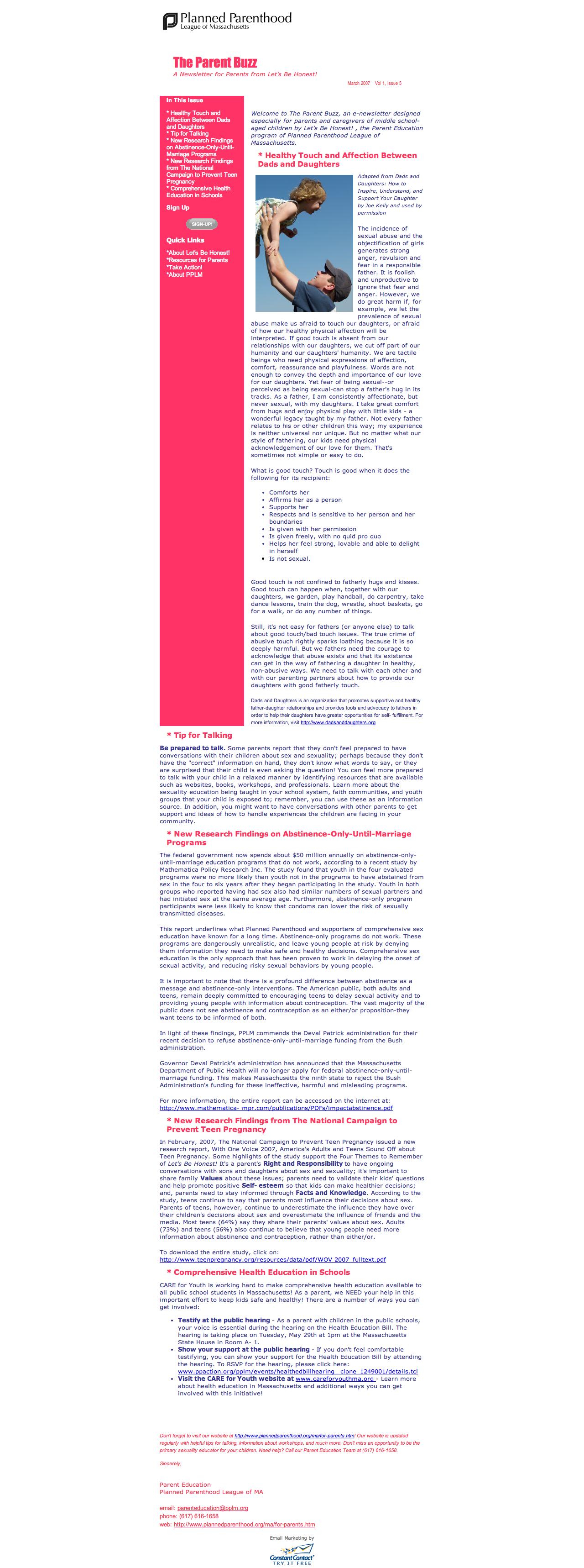 The Parent Buzz Archive | Planned Parenthood League of